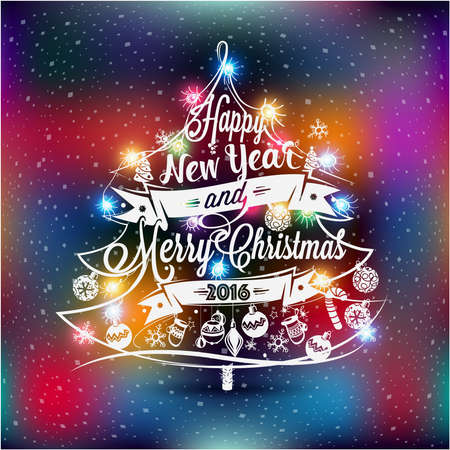 year profile: Christmas and New year label with colored lights on a Christmas tree, decoration of calligraphic design with typographic labels, symbols and icons elements for you. Hand drawn authors work.RGB profile