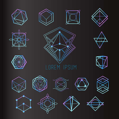 Sacred geometry forms, shapes of lines, logo, sign, symbol Vettoriali