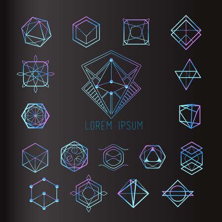 Heilige geometrie vormen, vormen van lijnen, logo, teken, symbool