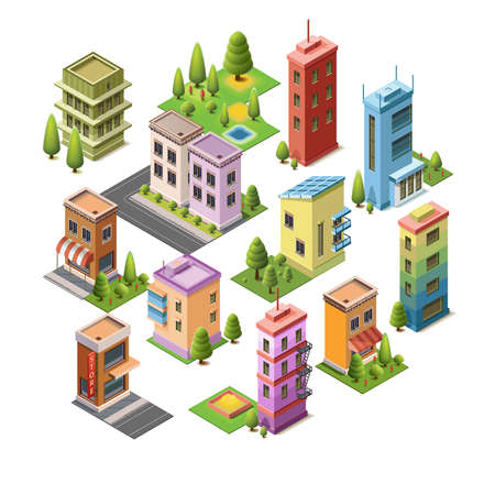 Isometric concept buildings, house, hotel, shop, roads, and parks. Set vector icons landmarks. Isolated building for your design. 3D flat vector.