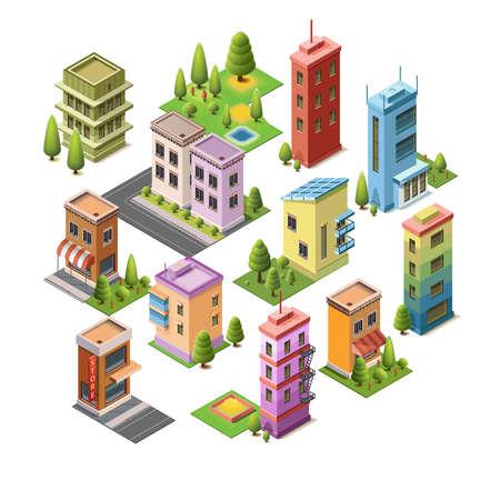 Isometrische concept van gebouwen, huis, hotel, winkel, wegen en parken. Set vector iconen bezienswaardigheden. Geïsoleerde gebouw voor uw ontwerp. 3D plat vector.