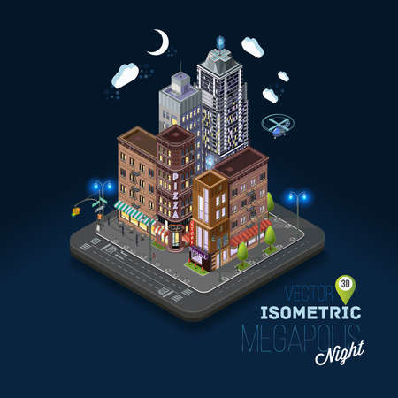night life: City concept with isometric buildings, shops, offices, cafes, skyscrapers and government buildings. Night city, evening atmosphere, metropolis, urban flat 3d vector illustration.