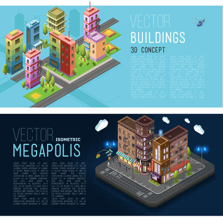 city at night: Buildings and offices of the city, the streets, with buildings and landscapes. banner, flat elements isolated vector illustration Illustration