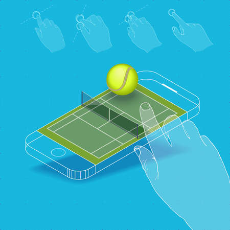 pictured: Flat vector Isometric composition on screen phone. Tennis court for a game with gestures, finger movements. Pictured 3d isometric concept.