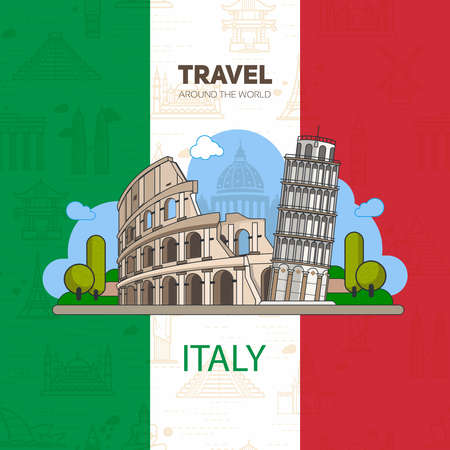 Italian landmarks, historic architecture, on the background of the flag with seamless backgrounds. The theme of travel in Europe