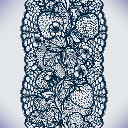 picture card: Abstract seamless lace pattern with flowers, leaves and strawberry. Infinitely wallpaper, garment decoration for your design, lingerie and jewelry. Your invitation cards, wallpaper, and more. Illustration