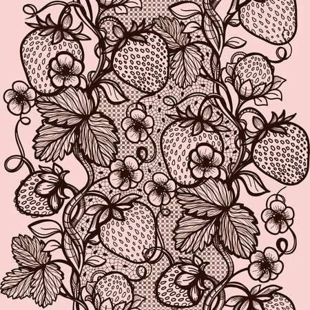 encaje: Cordón del vector sin fisuras patrón de fresa decorativo, hojas, entrelazado con viscosa de lines.Infinitely wallpaper, decoración su diseño, ropa interior y de invitación jewelry.Your tarjetas, papel pintado, y más. Vectores