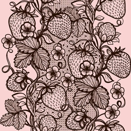 lace vector: Vector lace seamless pattern decorative strawberry,leaves,intertwined with viscous of lines.Infinitely wallpaper,decoration your design,lingerie and jewelry.Your invitation cards, wallpaper,and more.