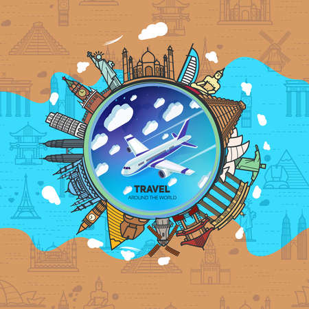 Icons sights of the world around a flying plane against the sky with clouds. Seamless background with a pattern tourist attractions icons. Topic Travel and Tourism landmarks all over the world.