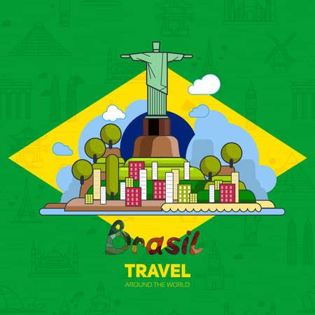 brasil: Brazilian landmarks, architecture, on the background of the flag. The theme of travel for you design.
