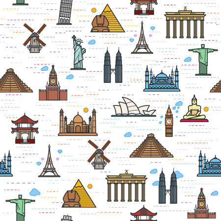 famous place: Seamless color pattern of the attractions of the world, outline drawing for your application. The most famous place for travel Illustration
