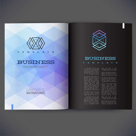 for design: Abstract vector template design for the pages of the magazine, brochure, page, leaflet, with colorful geometric triangular backgrounds, logo and text separately. Illustration