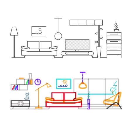 furniture design: Thin line flat design of modern living room with furniture, color version of the lines in the overlay mode color.Modern vector illustration concept, isolated on white background.