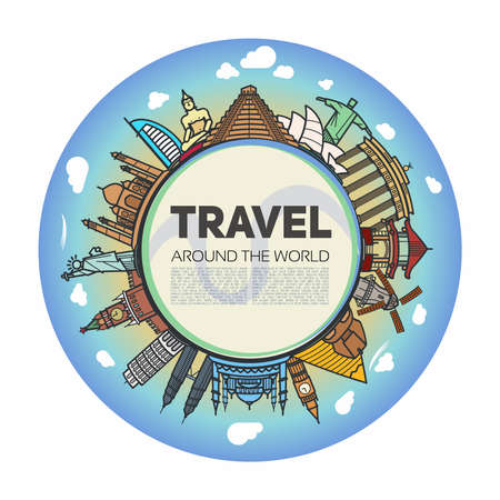 Tourist background with the center of the earth in the middle and icons landmarks from around the world.