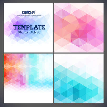 Abstract geometric backgrounds of a triangle. Using different blending modes. Template design for the pages of the magazine, brochure, page, leaflet and other. Vettoriali