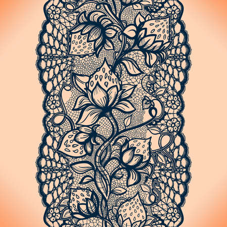 infinitely: Abstract seamless lace pattern with flowers, leaves and strawberry. Infinitely wallpaper, garment decoration for your design, lingerie and jewelry. Your invitation cards, wallpaper, and more. Illustration