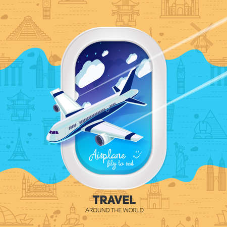 airplane: The airplane with a view from the window of the airplane and in the middle.Seamless background with a pattern tourist attractions icons. Topic Travel and Tourism landmarks from around the world.