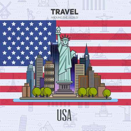 american cities: American landmarks, architecture, on the background of the flag. The theme of travel for you design.