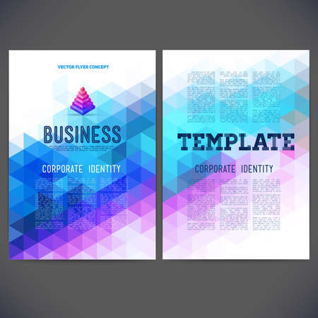 separately: Abstract vector template design, brochure, Web sites, page, leaflet, with colorful geometric triangular backgrounds, logo and text separately for you. Illustration
