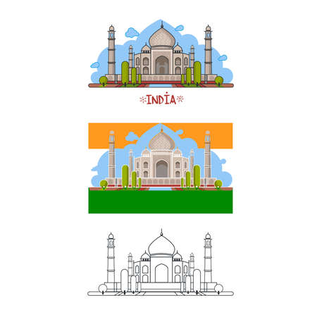 different ways: Indian palace in different ways. Colour, without contour, lines only. Vector illustration.  Isolated objects on a white background.