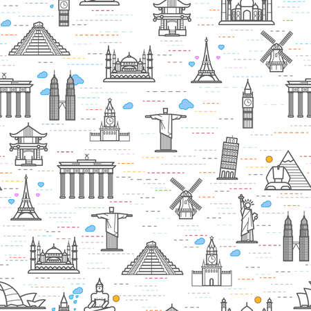 famous place: Seamless pattern of the attractions of the world, outline drawing for your application. The most famous place for travel