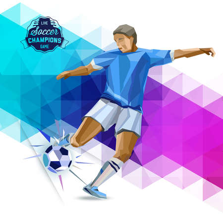 sport: Vector concept of soccer player with geometric background and geometric figures combination of different colors. Creative football design with labels for you.