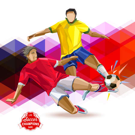 Vector concept of soccer player with geometric background and geometric figures combination of different colors. Creative football design with labels for you.