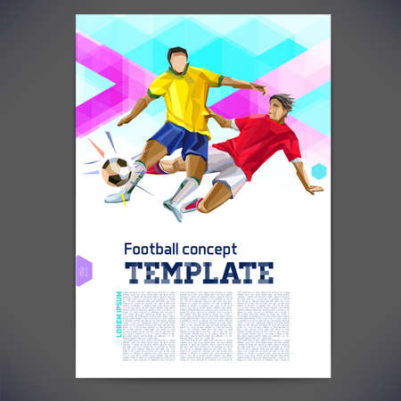 football player: Abstract vector football template design, brochure, Web sites, page, leaflet, with colorful geometric triangular backgrounds, text separately. Printing flyer on a football theme.
