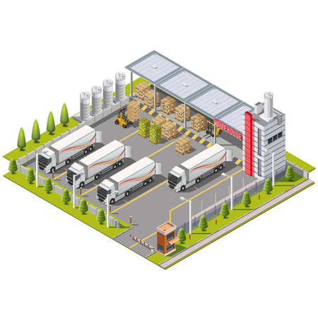 storage facility: Warehouse Industrial area with seating for loading and unloading, shipping and delivery, transportation and building Illustration