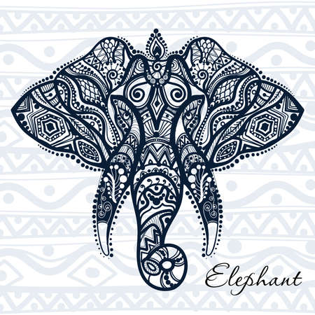india pattern: drawing of an elephant with ethnic patterns of India Illustration