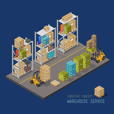 carretillas almacen: Nave industrial con estantes y camiones, servicio de carga. Las clasificadoras bienes de tecnología de procesos. Vectores