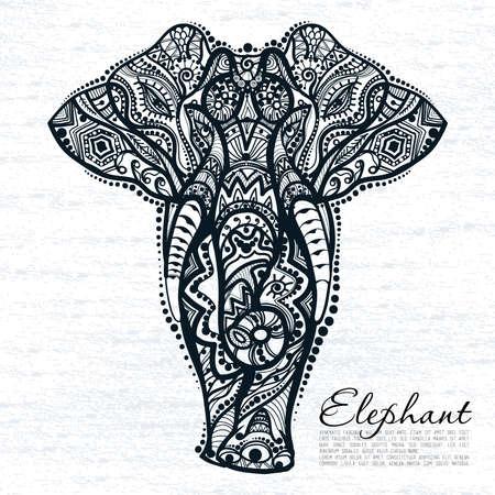 siluetas de elefantes: dibujo de un elefante con los patrones �tnicos de la India Vectores