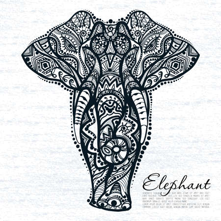 drawing of a elephant with ethnic patterns of India Illustration