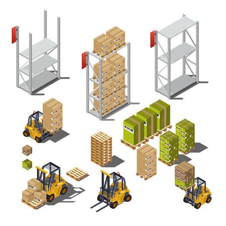 Geïsoleerde objecten met een industrieel pakhuis Stock Illustratie