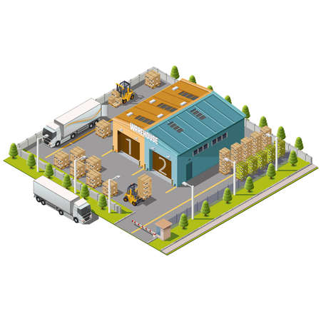factory: Warehouse Industrial area with seating for loading and unloading, shipping and delivery, transportation and building Illustration