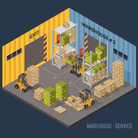 storage container: Warehouse racking and forklift and load Illustration