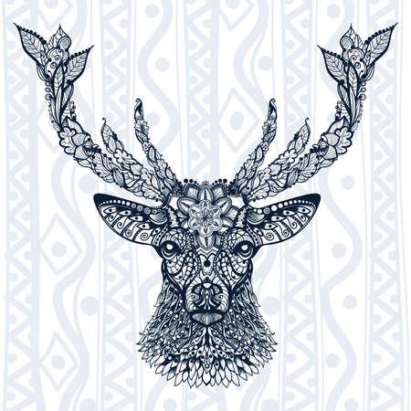 鹿パターンの図  イラスト・ベクター素材