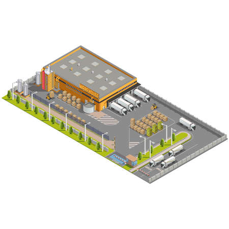 Warehouse Industrial area with seating for loading and unloading, shipping and delivery, transportation and building Illustration