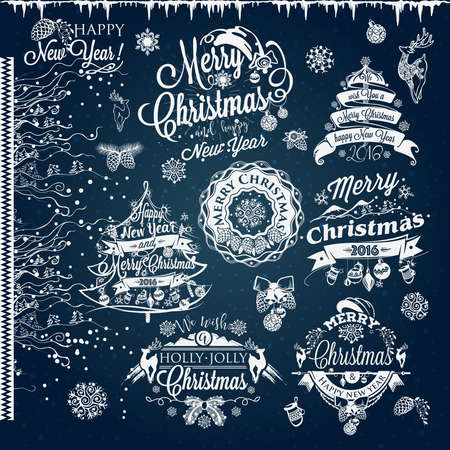 jingle bell: Christmas and New year labels and borders