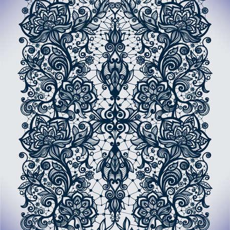 ruban noir: Motif de dentelle transparente abstrait avec des fleurs