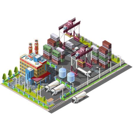 Het grondgebied magazijn, fabriek, met bouwkranen, lossen en het vervoer van containers van de scheepvaart goederen. Gebouwen, industriële structuur Stock Illustratie