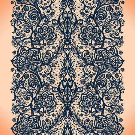 black art: Abstract seamless lace pattern with flowers Illustration