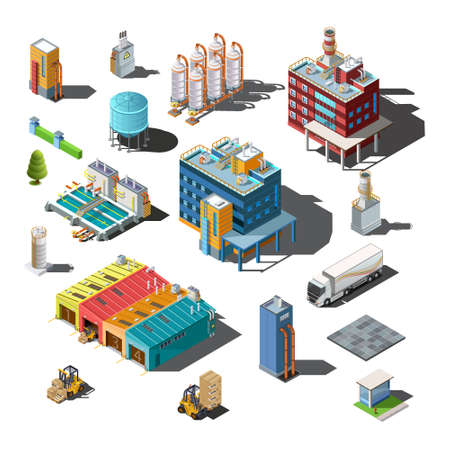 Icons and compositions of industrial subjects Stock Illustratie