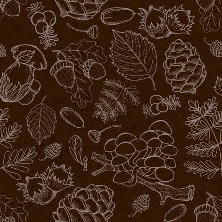 acorn seed: Seamless wild elements of nature