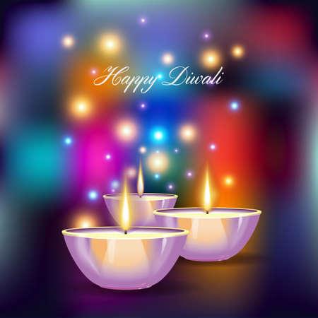 holiday background: illustration of burning diya on Diwali Holiday on geometric  background.