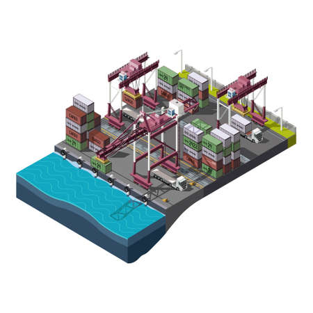 container port: set with industrial shipping process Illustration