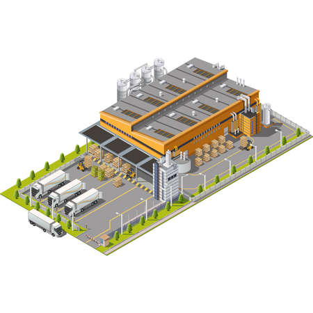 倉庫の荷役、配送と配信、交通機関の座席および建物と工業地帯  イラスト・ベクター素材