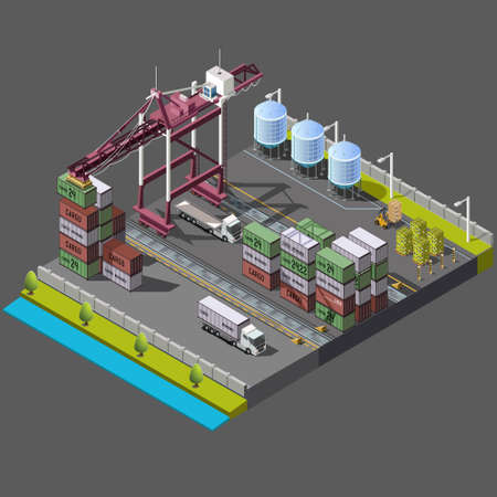 container port: Isometric set with construction crane for loading, delivery and loading of containers. territory the port warehouse