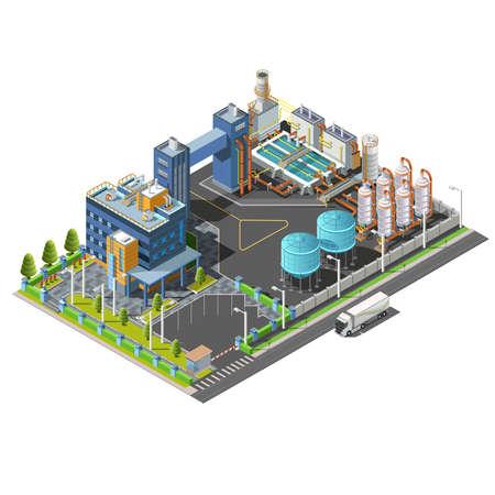 plante: Isométrique zone industrielle, l'usine, la construction du système hydroélectrique, purification de l'eau Illustration