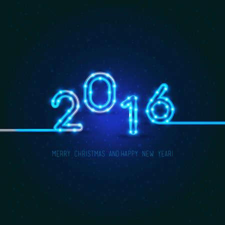 nowy rok: Konstrukcja noworoczny. 2016 rok figur monkey.Vector neonowych ze światłami. Ilustracja